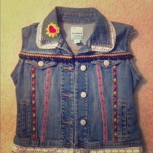 Boutique style up cycled girls vest